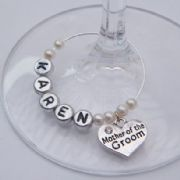 Mother Of The Groom Personalised Wine Glass Charm